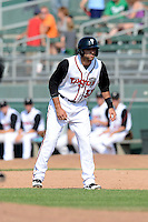 Lansing Lugnuts pinch runner Jason Leblebijian (38) during a game against the Dayton Dragons on August 25, 2013 at Cooley Law School Stadium in Lansing, Michigan.  Dayton defeated Lansing 5-4 in 11 innings.  (Mike Janes/Four Seam Images)