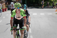 Simon Clarke (AUS/Cannondale-Drapac) & Michal Kwiatkowski (POL/SKY) riding ahead of the peloton<br /> <br /> 69th Critérium du Dauphiné 2017<br /> Stage 8: Albertville > Plateau de Solaison (115km)