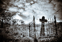 Jerome Iron Cross in cemetery - Jerome, Arizona (BW)