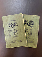 BNPS.co.uk (01202) 558833<br /> Pic: Bonhams/BNPS<br /> <br /> The Austin Twelve handbook 'Property of Spike Milligan'<br /> <br /> A vintage Austin motorcar comedian Spike Milligan gifted to his Goon Show colleague Peter Sellers after he lost his driving licence has emerged for sale.<br /> <br /> The 1930 Austin Heavy Twelve Open Tourer Deluxe was bought by Milligan in the 1950s after the success of the famous radio show that starred himself, Sellers and Harry Seacombe.<br /> <br /> He nicknamed the touring car 'Old Min' after one of the show's characters.<br /> <br /> The car is coming up for sale with Bonhams for £35,000.