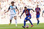 Deportivo de La Coru?a's Pedro Mosquera and FC Barcelona's Neymar Santos Jr during the La Liga match between Futbol Club Barcelona and Deportivo de la Coruna at Camp Nou Stadium Spain. October 15, 2016. (ALTERPHOTOS/Rodrigo Jimenez)