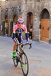 Lampre-Merida team rider makes his way to sign on before the start of the 2015 Strade Bianche Eroica Pro cycle race 200km over the white gravel roads from San Gimignano to Siena, Tuscany, Italy. 7th March 2015<br /> Photo: Eoin Clarke www.newsfile.ie