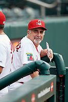 Springfield Cardinals manager Johnny Rodriguez (18) in the dugout before a game against the Corpus Christi Hooks on May 31, 2017 at Hammons Field in Springfield, Missouri.  Springfield defeated Corpus Christi 5-4.  (Mike Janes/Four Seam Images)