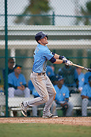 Tampa Bay Rays shortstop Matt Duffy (5) hits a double during an Instructional League game against the Pittsburgh Pirates on October 3, 2017 at Pirate City in Bradenton, Florida.  (Mike Janes/Four Seam Images)