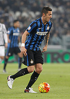 Calcio, semifinali di andata di Coppa Italia: Juventus vs Inter. Torino, Juventus Stadium, 27 gennaio 2016.<br /> FC Inter's Stevan Jovetic in action during the Italian Cup semifinal first leg football match between Juventus and FC Inter at Juventus stadium, 27 January 2016.<br /> UPDATE IMAGES PRESS/Isabella Bonotto