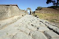 Un'antica strada nel sito archeologico di Pompei, nei pressi di Napoli.<br /> An ancient street of Pompeii's archeological roman site, near Naples.<br /> UPDATE IMAGES PRESS/Riccardo De Luca