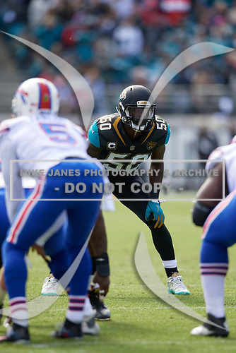 Jacksonville Jaguars linebacker Telvin Smith (50) during an NFL Wild-Card football game against the Buffalo Bills, Sunday, January 7, 2018, in Jacksonville, Fla.  (Mike Janes Photography)