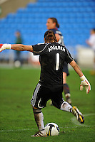 German goalkeeper Nadine clears the ball. The USA captured the 2010 Algarve Cup title by defeating Germany 3-2, at Estadio Algarve on March 3, 2010.