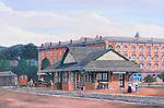"""Victorian train station in Bellefonte, PA, with the Bush House Hotel behind, circa 1900. Available as a 11"""" x 17"""" fine art limited edition lithograph."""