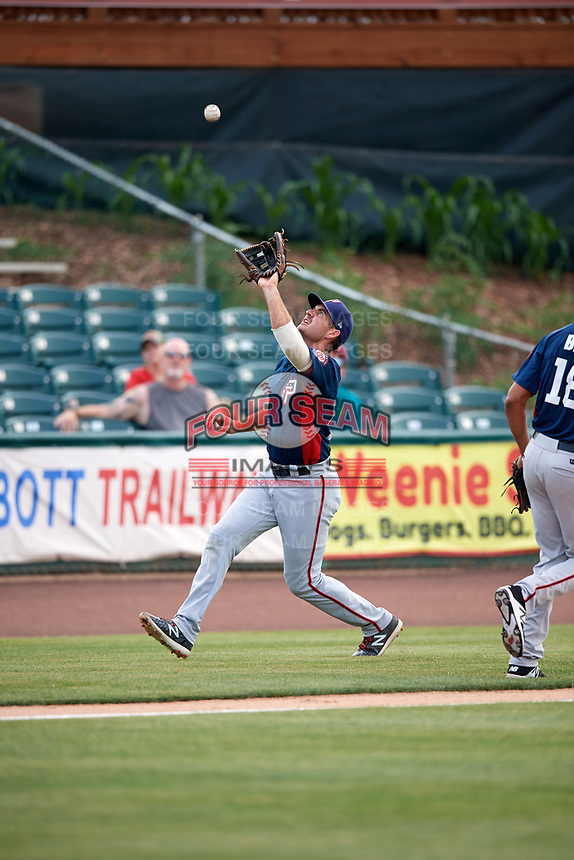 Potomac Nationals third baseman Jake Noll (13) catches a popup in foul territory during the first game of a doubleheader against the Lynchburg Hillcats on June 9, 2018 at Calvin Falwell Field in Lynchburg, Virginia.  Lynchburg defeated Potomac 5-3.  (Mike Janes/Four Seam Images)