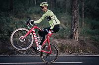 one-hand wheelie by Alex KIRSCH (LUX/Trek-Segafredo)<br /> <br /> Team Trek-Segafredo men's team<br /> training camp<br /> Mallorca, january 2019<br /> <br /> ©kramon
