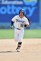 Asheville Tourists second baseman Max George (3) rounds the bases after hitting a home run during a game against the Rome Braves at McCormick Field on July 30, 2017 in Asheville, North Carolina. The Braves defeated the Tourists 7-3. (Tony Farlow/Four Seam Images)