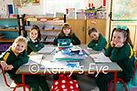 Senior infants enjoying their first day back at school in Gaelscoil Lois Tuathail on Monday, l to r: Anna Ní Chínnfhaolaidh, Leah Ní Fhionnalláin, Liam Ó Saoraí, Claire Séamas and Lauren Ní Bhrúgha.