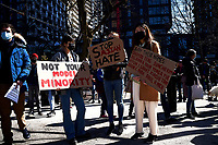 Manifestation contre le racisme anti-asiatique, dans les rue de Montreal, le 21 mars 2021<br /> <br /> Photo : Pierre Tran - AQP