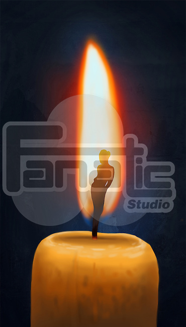 Essence of a woman burning in candle flame over black background