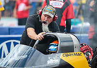 Oct 6, 2018; Ennis, TX, USA; Crew member for NHRA top fuel driver Cory McClenathan during qualifying for the Fall Nationals at the Texas Motorplex. Mandatory Credit: Mark J. Rebilas-USA TODAY Sports