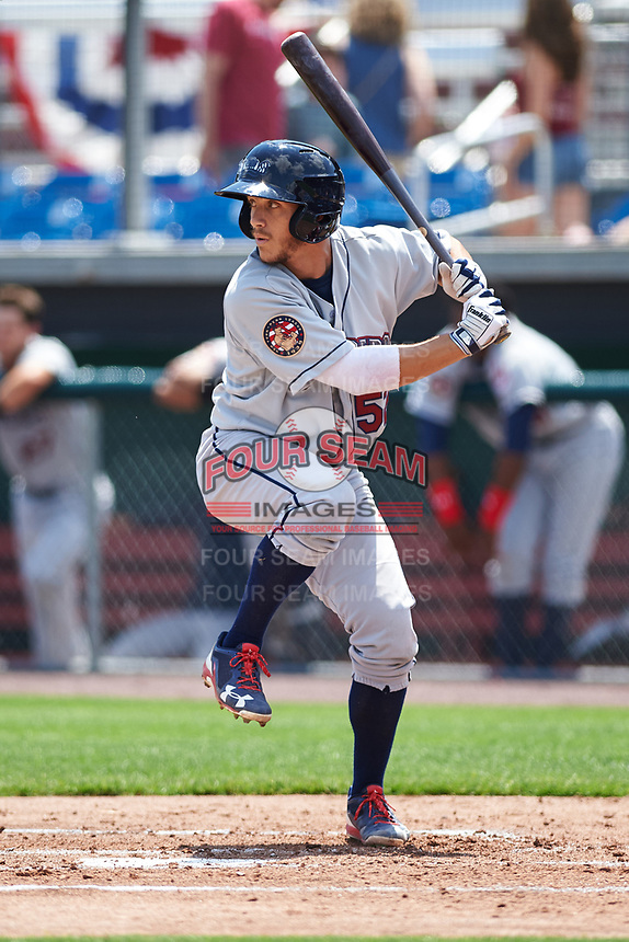 Mahoning Valley Scrappers designated hitter Jesse Berardi (52) at bat during the first game of a doubleheader against the Auburn Doubledays on July 2, 2017 at Falcon Park in Auburn, New York.  Mahoning Valley defeated Auburn 3-0.  (Mike Janes/Four Seam Images)