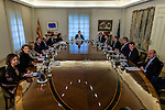Spanish Minister of Health, Social Services and Equality Dolors Montserrat, Spanish Minister of Agriculture, Fishery, Alimentation and Environmental Affairs Isabel Garcia Tejerina, Spanish Minister of Employment and Social Security Fatima Banez, Spanish Minister of Public Works Inigo de la Serna,  Spanish Minister of the Treasury and Public Administrations Cristobal Montoro, Spanish Minister of the Interior Juan Ignacio Zoido, Spanish Minister of Education, Culture and Sport and Spokesman Inigo Mendez de Vigo, Spanish Prime Minister Mariano Rajoy, Spanish Minister of Foreign Affairs and Cooperation Alfonso Dastis Quecedo, Spanish Minister of Defence Maria Dolores de Cospedal, Spanish Minister of Energy, Tourism and Digital Agenda Alvaro Nadal, Spanish Minister of Economic Affairs, Industry and Competitiveness Luis de Guindos during the prensentation of Rajoy's New Government at Moncloa Palace in  Madrid, Spain. November 04, 2016. (ALTERPHOTOS/Rodrigo Jimenez)
