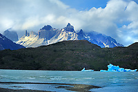 Chile - National Park Torres del Paine<br /> Floating icebergs of glacier Grey on Lago Grey