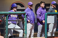 LSU Tigers head coach Paul Mainieri (center) watches from the dugout during the game against the Georgia Bulldogs at Foley Field on March 23, 2019 in Athens, Georgia. The Bulldogs defeated the Tigers 2-0. (Brian Westerholt/Four Seam Images)