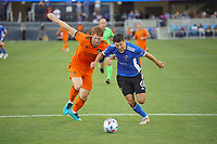 SAN JOSE, CA - JULY 24: Shea Salinas #6 of the San Jose Earthquakes battles for the ball with Tim Parker #5 of the Houston Dynamo during a game between Houston Dynamo and San Jose Earthquakes at PayPal Park on July 24, 2021 in San Jose, California.