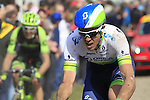 Riders, including Matthew Hayman (AUS) Orica GreenEdge, tackle Sector 10 Mons-en-Pevele during the 113th edition of the Paris-Roubaix 2015 cycle race held over the cobbled roads of Northern France. 12th April 2015.<br /> Photo: Eoin Clarke www.newsfile.ie
