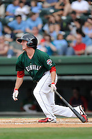 Third baseman Jimmy Rider (5) of the Greenville Drive in a game against the Savannah Sand Gnats on Sunday, August 24, 2014, at Fluor Field at the West End in Greenville, South Carolina. Greenville won, 8-5. (Tom Priddy/Four Seam Images)