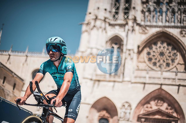 Astana-Premier Tech riders recon Stage 1 of La Vuelta d'Espana 2021, a 7.1km individual time trial around Burgos, Spain. 14th August 2021. <br /> Picture: Unipublic/Charly Lopez | Cyclefile<br /> <br /> All photos usage must carry mandatory copyright credit (© Cyclefile | Unipublic/Charly Lopez)