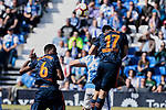 CD Leganes's Mikel Vesga and Valencia CF' Geoffrey Kondogbia (L) and Francis Coquelin (R) fight for the ball during La Liga match, Round 25 between CD Leganes and Valencia CF at Butarque Stadium in Leganes, Spain. February 24, 2019. (ALTERPHOTOS/A. Perez Meca)