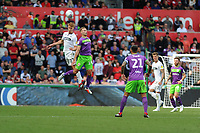Jay Fulton of Swansea City vies for possession with Andreas Weimann of Bristol City during the Sky Bet Championship match between Swansea City and Bristol City at the Liberty Stadium, Swansea, Wales, UK. Saturday 25 August 2018