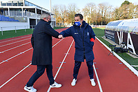 Head Coach Leo Van Der Elst (Brugge) pictured greeting Head Coach Dave Mattheus  (Gent) during a female soccer game between Club Brugge Dames YLA and AA Gent Ladies on the sixth matchday of the 2020 - 2021 season of Belgian Scooore Womens Super League , saturday 7 th November 2020  in Knokke , Belgium . PHOTO SPORTPIX.BE | SPP | DAVID CATRY