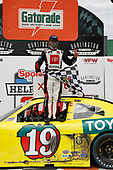 #19: Brandon Jones, Joe Gibbs Racing, Toyota Supra 03 Dash Championship, celebrates after winning the Sport Clips Haircuts VFW 200.