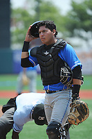 Hudson Valley Renegades catcher Wilmer Dominguez (25) during game 1 of a double header against the Brooklyn Cyclones at MCU Park on July 8, 2014 in Brooklyn, NY.  Brooklyn defeated Hudson Valley 3-0.  (Tomasso DeRosa/Four Seam Images)