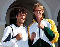 07-07-11, Tennis, South-Afrika, Potchefstroom, Daviscup South-Afrika vs Netherlands, Loting, Kopmannen van hun team, links Robin Haase en rechts Kevin Anderson