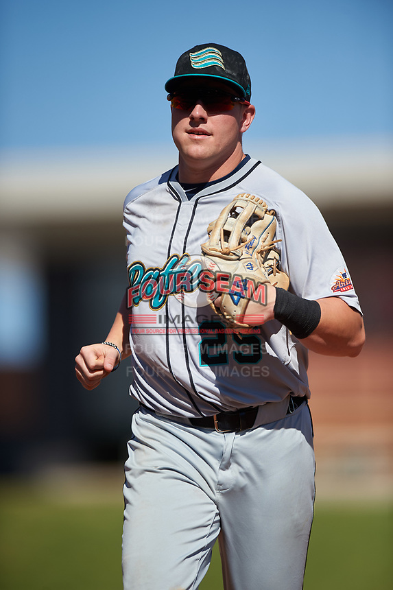 Salt River Rafters Luke Raley (25), of the Minnesota Twins organization, jogs off the field between innings of the Arizona Fall League Championship Game against the Surprise Saguaros on October 26, 2019 at Salt River Fields at Talking Stick in Scottsdale, Arizona. The Rafters defeated the Saguaros 5-1. (Zachary Lucy/Four Seam Images)