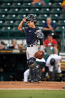 Tampa Yankees catcher Sharif Othman (62) during the second game of a doubleheader against the Bradenton Marauders on June 14, 2017 at LECOM Park in Bradenton, Florida.  Tampa defeated Bradenton 5-1.  (Mike Janes/Four Seam Images)