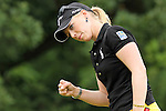 USA Morgan Pressel fist pumped after making a parr saving on the 11th hole at the LPGA Championship 2011 Sponsored By Wegmans at Locust Hill Country Club in Rochester, New York on June 26, 2011