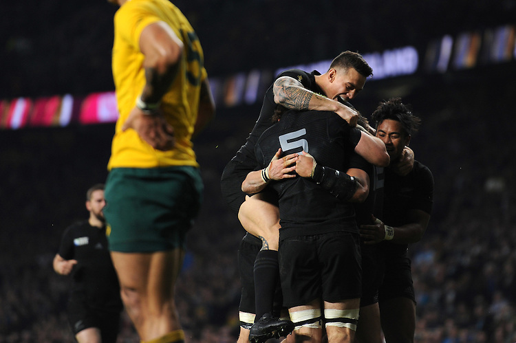 Sonny Bill Williams, Samuel Whitelock and Nehe Milner-Skudder of New Zealand congratulate Ma'a Nonu of New Zealand after he scores a try during the Rugby World Cup Final between New Zealand and Australia - 31/10/2015 - Twickenham Stadium, London<br /> Mandatory Credit: Rob Munro/Stewart Communications
