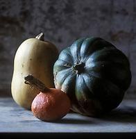 Gastronomie générale: Courge, citrouille ou potiron, - pumpkin ou squash en anglais - de Joël Thiébaut, le maraîcher des grands chefs parisiens - Stylisme : Valérie LHOMME