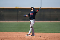 Cleveland Indians catcher Micael Ramirez (2) celebrates after hitting a double during an Extended Spring Training game against the Arizona Diamondbacks at the Cleveland Indians Training Complex on May 27, 2018 in Goodyear, Arizona. (Zachary Lucy/Four Seam Images)