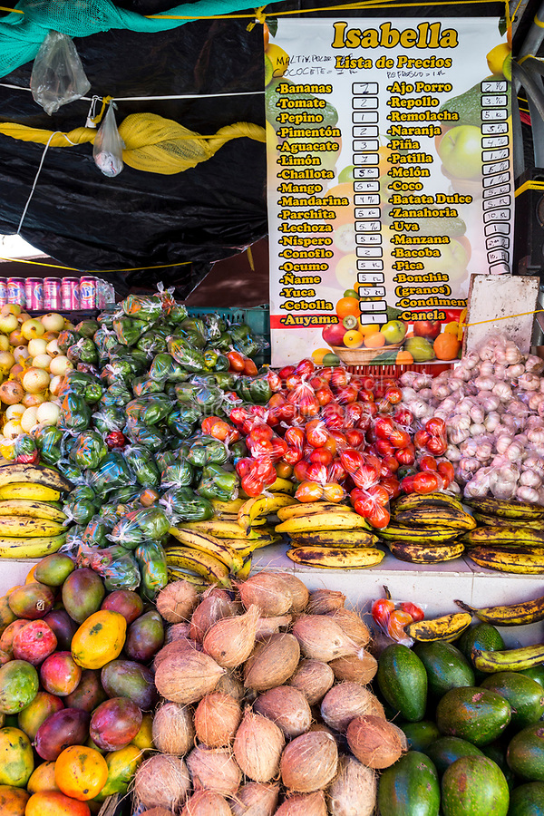 Willemstad, Curacao, Lesser Antilles.  Fruit and Vegetable Stand with Price List.