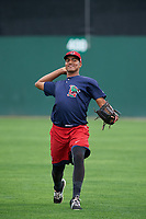 Lowell Spinners pitcher Denyi Reyes (41) throws in the outfield before a game against the Batavia Muckdogs on July 12, 2017 at Dwyer Stadium in Batavia, New York.  Batavia defeated Lowell 7-2.  (Mike Janes/Four Seam Images)