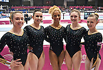 The Womens European Championships 10.5.12.Senior Qualifications. Brussels Expo Atomium. GB Team pictured after the Senior Womens Qualifications. L to R Ruby Harrold,Hannah Whelan, Danusia Francis,Jennifer Pinches and Rebecca Tunney