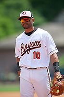 Bowie Baysox third baseman Jesmuel Valentin (10) during an Eastern League game against the Akron RubberDucks on May 30, 2019 at Prince George's Stadium in Bowie, Maryland.  Akron defeated Bowie 9-5.  (Mike Janes/Four Seam Images)