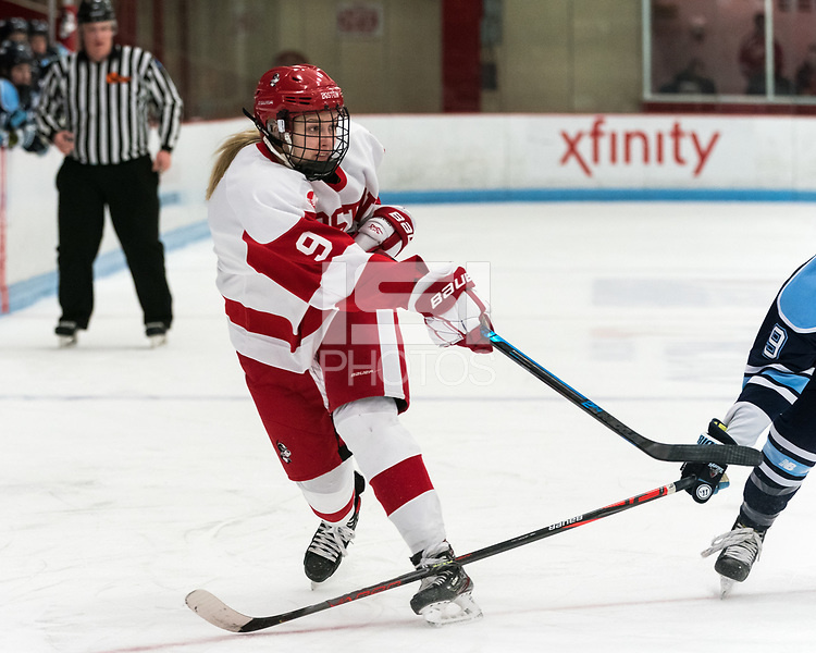 BOSTON, MA - JANUARY 04: Abby Cook #9 of Boston University shoots during a game between University of Maine and Boston University at Walter Brown Arena on January 04, 2020 in Boston, Massachusetts.