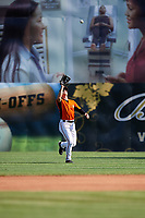 Frederick Keys left fielder T.J. Nichting (17) settles under a fly ball during the first game of a doubleheader against the Lynchburg Hillcats on June 12, 2018 at Nymeo Field at Harry Grove Stadium in Frederick, Maryland.  Frederick defeated Lynchburg 2-1.  (Mike Janes/Four Seam Images)
