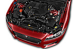 Car Stock 2017 Jaguar XF R-Sport 4 Door Sedan Engine  high angle detail view