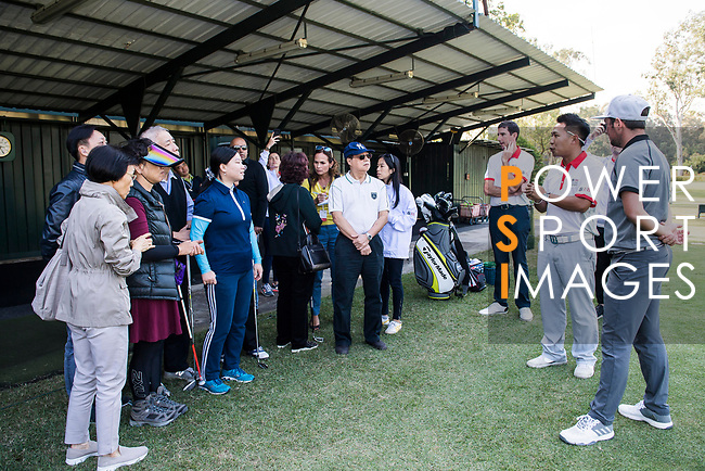 Alfie Plant of England attends the Hong Kong Blind Sports Federation Clinic Hong Kong Blind Sports Federation Clinic during the day one of UBS Hong Kong Open 2017 at the Hong Kong Golf Club on 23 November 2017, in Hong Kong, Hong Kong. Photo by Marcio Rodrigo Machado / Power Sport Images