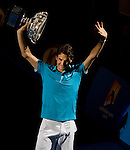 January 31, 2010. Roger Federer of Switzerland, waves to fans after defeating Andy Murray of Great Britain 6-3, 6-4,7-6, in the Mens  Singles Championship of The Australian Open, Melbourne Park, Melbourne, Australia