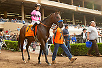 DEL MAR,CA-SEPTEMBER 03: Game Winner,ridden by Mario Gutierrez, prepares for the Del Mar Futurity at Del Mar Race Track on September 3,2018 in Del Mar,California (Photo by Kaz Ishida/Eclipse Sportswire/Getty Images)